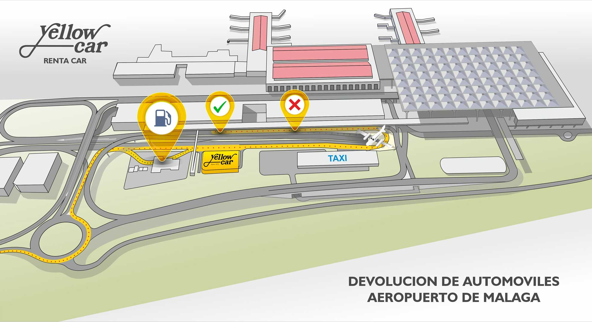 Malaga Airport services • Yellow Car - Rent a Car on map of tarifa, map of the m25, map of valencia, map of puerto banus, map of almeria, map of torremolinos, map of zurich train station, map of cordoba, map of cadiz, map of ibiza, map of burgos, map of granada, map of seville, map of tarragona, map of oviedo, map of madrid, map of lloret de mar, map of barcelona,
