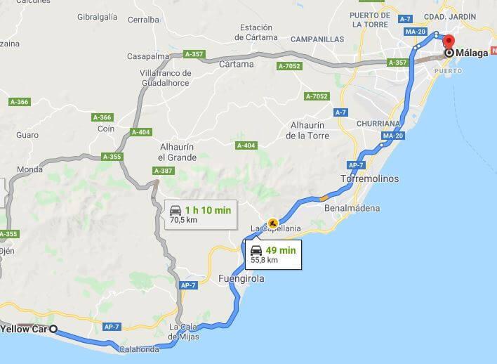 Recorrido Malaga Marbella