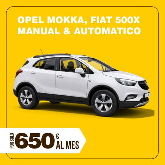 Alquiler Opel Mokka/Fiat 500X larga duración